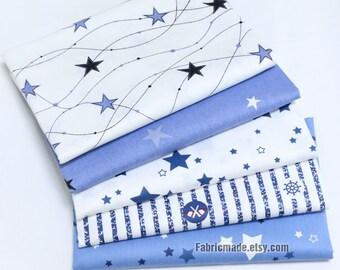 Stars Cotton Fabric, White Blue Stars Fabric Navy Marine Naval Style- 1/2 Yard