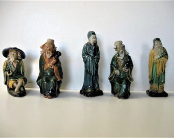 "Lot of 5 antique Chinese Mudmen, 4"" tall, signed China, Asian collectible, Chinoiserie, Asian decor, gift idea"