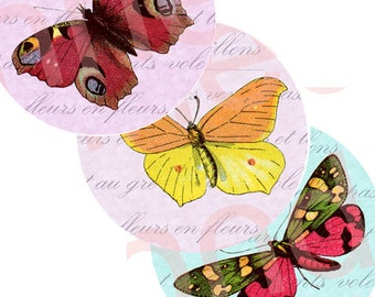 """Printable 2"""" circles 2 in printable circles 2 inches butterflies printable collage sheet instant download Anne Londez scrapbook paper"""