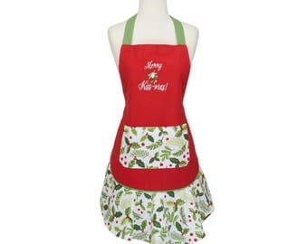 Christmas Apron   Initials   Monogram Kitchen Apron   Red   Shaby Chic   White   Fall   Full Apron   Gift for Her   Teacher Gift