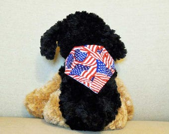 4th of July Dog Bandana Mini  Red White Blue  Stars And Stripes