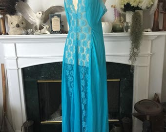 80s Bright Turquoise Nylon Lace Nightgown