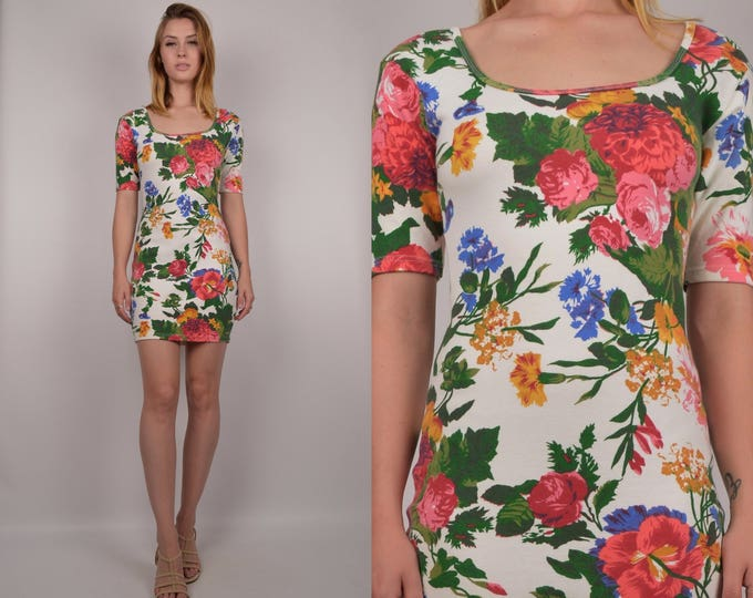 90's Floral Bodycon Mini Dress