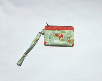 Zippered Wristlet, ID Pocket Wristlet, Red and Green Wristlet, Floral Wristlet, Bonnie and Camille Wristlet