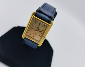 OMEGA De Ville Quartz Gold Plated Ladies Vintage Luxury Watch Teal Leather Band