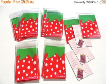On Sale 100 Mini 2 3/4 x 4 inch Self Seal Plastic Bags, Cute Strawberry Theme Goodie Favor Bags, party Gift Bag, Party favor bags, Wedding b
