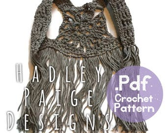 NESO Boho Fringe Vest Crochet Pattern by Hadley Paige Designs.  Summer wear. 3 sizes baby, toddler & child.  kids fashion baby styles