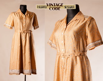 70s does 50s Leaf Leaves print short sleeve dress / Sheer Golden tone vintage shirt waist day dress by Merry Finn / Extra Large Plus size