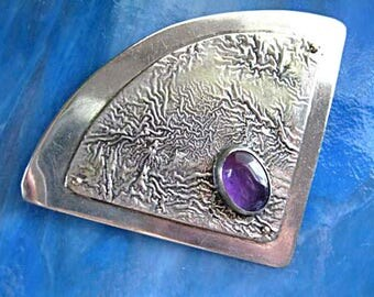Sterling Amethyst Artisan Brooch, Mid Century Modern, Arts and Crafts Abstract Tree Branches, signed C A Johnson