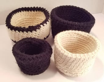 Four soft stack-able crochet bowls