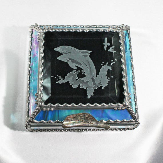 Dolphin, stained glass box, treasure box, trinket box, keepsake box
