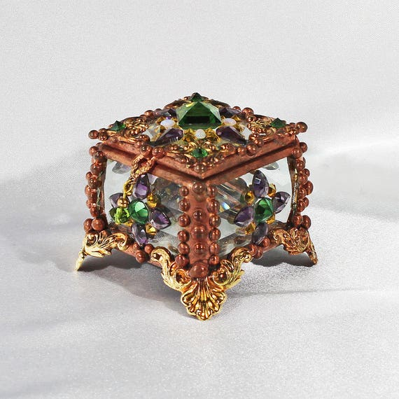 Jewel Encrusted X4 Fairy Box, vintage jewels, stained glass box, trinket box, ring box, engagement ring box