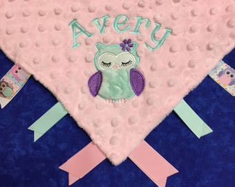 Lt Pink and Mint 12x12 Cuddle Blanket with Owl Applique and Name