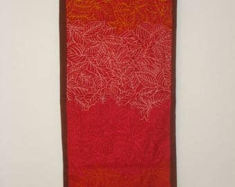 Vintage Long Red Scarf - Leaf Pattern Scarves - Womens Fall Accessories