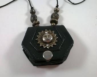 Vintage Black Leather Change Purse - Coins  - Necklace Sun - Womens Accessories - 1980s
