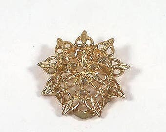 Vintage Scarf Clip - Gold  Star Scarf Ring  - Pinless Filigree Brooch Slide - Costume Jewelry Brooch 1980s