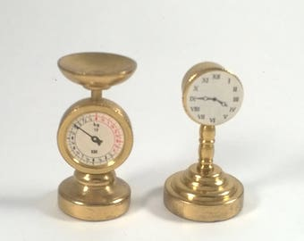 Vintage Miniature Brass Scale  and Clock -  Tiny Little - Doll House Collectables Holland