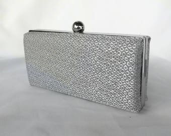 Silver Minaudiere box clutch/ Spring Wedding box clutch/Personalized clutch/Bridal shower/ Gift for her/ Evening purse/ Clamshell box clutch