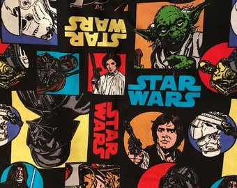 Star Wars fabric, quilt fabric, retro Star Wars, Hans Solo, movies scenes, Chewbacca, kids fabric, cotton  fabric by the half yard,