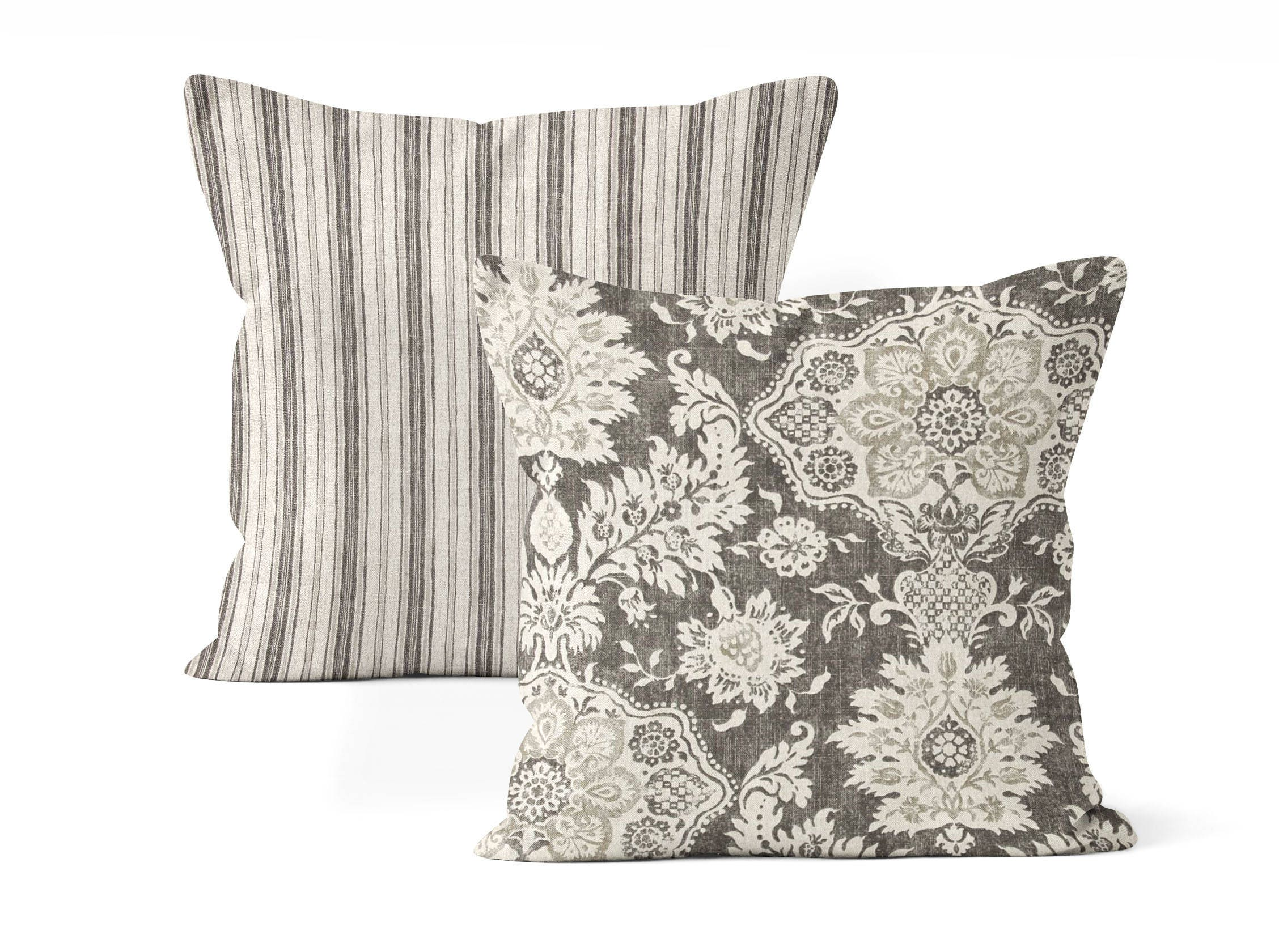 2 farmhouse pillow cover set, throw pillow cover,floral and stripes, dark gray, bed pillows ...