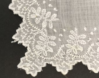 Vintage Hand Embroidered White Lace Wedding Hankie