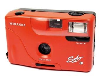 Miranda Solo 3 Vintage 1980s Compact Point & Shoot Red Retro 35mm Film Camera