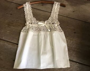 French White Fine Lace Camisole, Bodice, Summer Lingerie, Crop Top