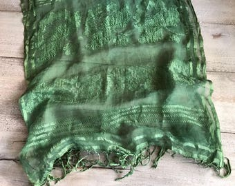 1930s Fern Green Silk Chiffon Scarf, Embroidered Silk Scarf With Fringe, Clover Design, Irish Motif