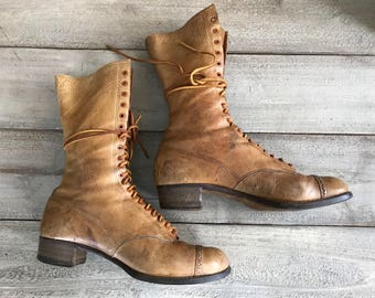 Brown Leather Boots, Lace Up Prairie Boots, Antique ca Early 1900s