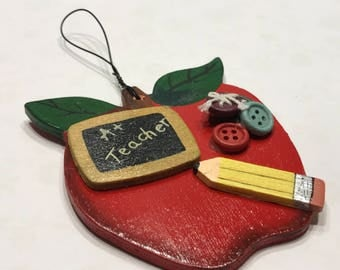 Teachers Apple wood ornament, 3 inch (BB1/5)