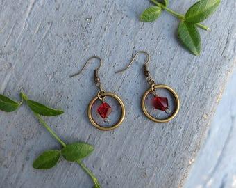 Ruby Hoop and Gem Earrings / Red Hoop Earrings / Gem Earrings / Garnet Birthstone Earrings / Bronze Circle Earrings