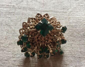 Fun Vintage Bauble Earrings Green Rhinestone