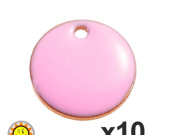 x 10 sequins enamel charms pink 12mm