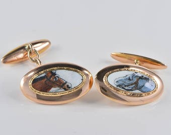 Art Deco boxed rare enamelled equestrian gebts cuff links