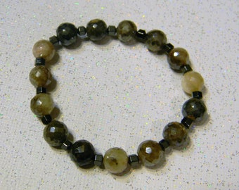 Faceted Moonstone and Hematite Stretch Bracelet