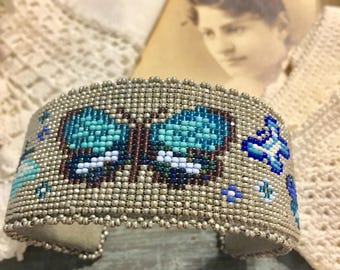 VINTAGE American Southwest Silver Turquoise glass micro bead BUTTERFLY BRACELET