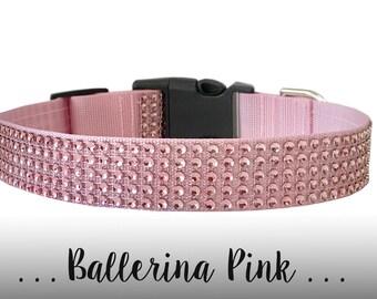 Diamond Pink Rhinestone Dog Collar, Pet Collar: Ballerina Pink Rhinestone