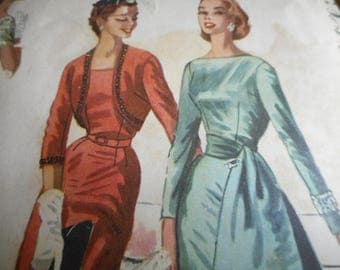 Vintage 1950's McCall's 3425 Dress and Bolero Sewing Pattern Size 13 Bust 31