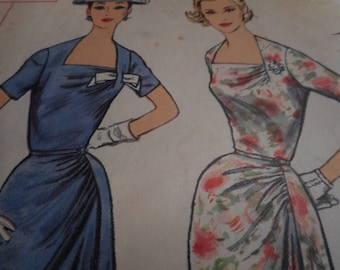 Vintage 1950's Simplicity 1960 Dress Sewing Pattern Size 14 Bust 34