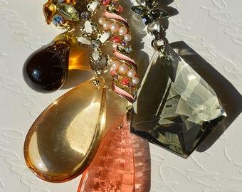 Vintage Enamel and Rhinestone Chandelier Crystal Lariat Necklaces