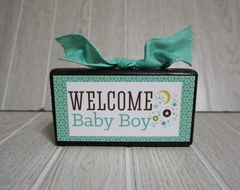 welcome baby boy wood block - wood sign - its a boy - congratulations - baby shower - nursery - nursery decor - baby boy - wood sign