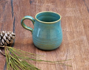 Light-Blue Wheel Thrown Mugs, Coffee Cups, Pottery Mugs, Tea Cups, Handmade Cups, Pottery Cup, Gift for Him, Housewarming gift,Holiday Gift