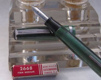 Restored Esterbrook Fountain Pen J Model Fern Green w/ NOS #2668 Medium Point Nib Vintage 1950's