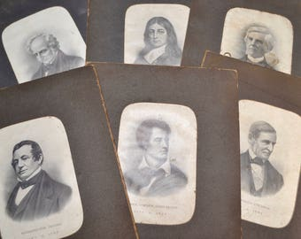 Vintage lithographs of poets / authors, set of six