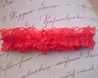 Red prom garter, red garter, dance garter, red bridal garter, red lace garter, red garter belt, dark red garter, red wedding garter, bride