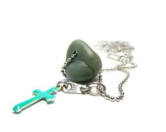Leland Bluestone 30 In Cross Necklace, Lake MI Glass Stone, Blue Enamel Cross, Stainless Steel, Petite Ball Chain, 316 Tiny Tag, Inspiration