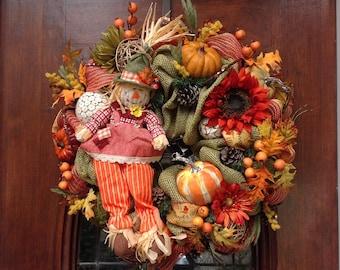 Girl Scarecrow Burlap and Mesh Wreath