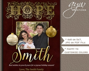 HOPE Christmas Card Printable with Ornaments and Family Name with 1 Photo Holiday Greeting Card Elegant Holiday Greeting Photo Card