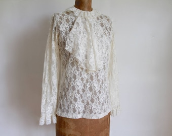 1960s / 1970s Ivory Lace Jabot Blouse / Vintage 70s does Victorian Lace Shirt / Small / Medium