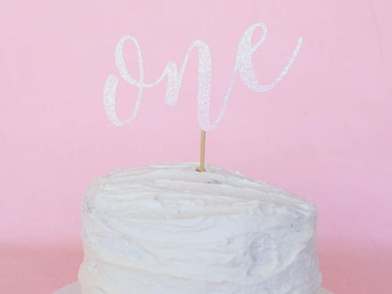 SALE - One Cake Topper - Light Pink Glitter - First Birthday. Smash Cake Topper. Birthday Party. First Birthday. 1st Birthday.